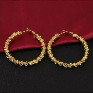 Gold and Silver Nuggets Large Hoop Earrings